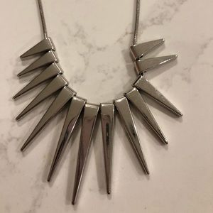Express Spike Statement Silver Necklace